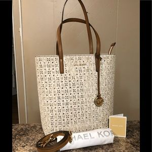 MK N/S Hallie perforated Tote